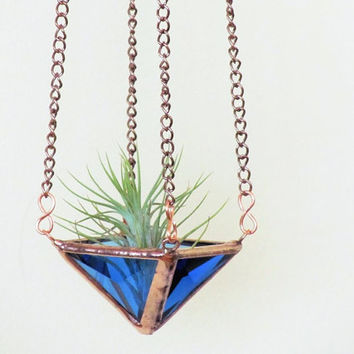 Air Plant Holder Blue Mini 2 Tiered Faceted Stained Glass Hanging Planter