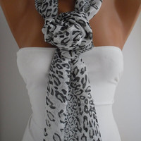 Black and White Leopard Chiffon Shawl- Scarf by DIDUCI