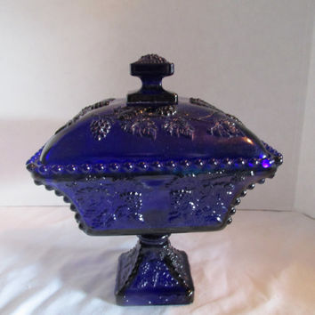 Westmoreland glass square candy dish cobalt blue  grape design pedestal with lid