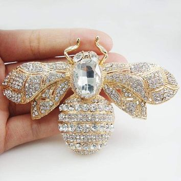 Gold Tone Vintage Bee Insect Pendant Woman Brooch Clear Austrian Crystal