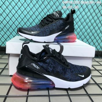 KUYOU N129 Nike 2018 Wmns Air Max 270 Flyknit Crystal Particle Cushion Causal Running Shoes Black Blue Red