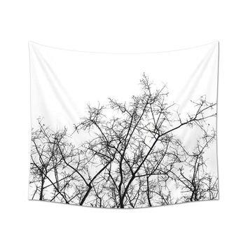 Tree Branches Wall Tapestry, Black And White, Dorm Decoration, Wall Art Print, Dired Branches, Wall Decorating