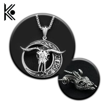 The vikings jewelry Silver color goat sheep head necklace Pendant Men's Biker Jewlery free