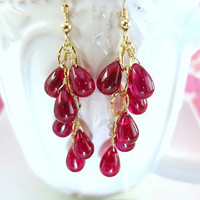 Red rubelite corundrum quartz smooth drop cluster earrings