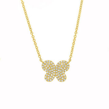 0.18ct 14k Yellow Gold Diamond Pave Butterfly Necklace