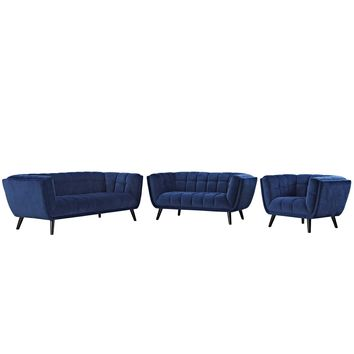 Bestow 3 Piece Velvet Sofa Loveseat and Armchair Set Navy EEI-2978-NAV-SET