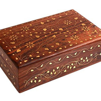 Gorgeous Hand Carved Rosewood Trinket Jewelry Box with Mughal Inspired Brass Inlay & Velvet Interior Gift Ideas