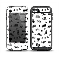 The Black and White Travel Collage Pattern Skin for the iPod Touch 5th Generation frē LifeProof Case