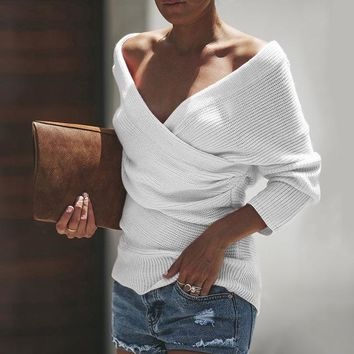 Sexy V Neck Cross Sweater