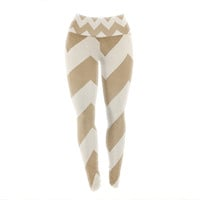 "Catherine McDonald ""Biscotti and Cream"" Chevron Yoga Leggings"