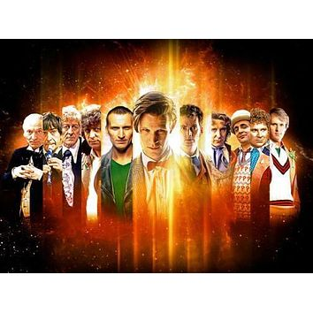 Doctor Who 50Th Anniversary All Doctors poster Metal Sign Wall Art 8in x 12in