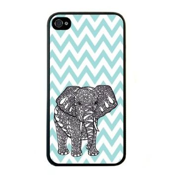 Change Blue Chevron Elephant iPhone 4 Case For iPhone 4 4S 4G (Fashion design-1)