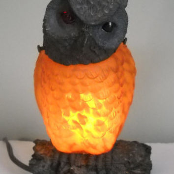 Vintage Owl Lamp, Night Light, Glowing Owl, Halloween Light, Owl Collectors, Golden Owl Lamp (H054)