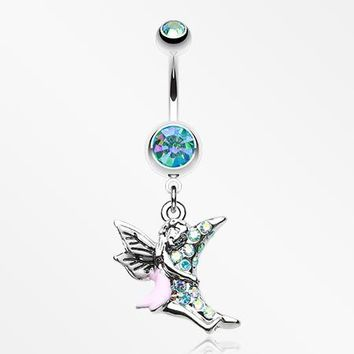 Adorable Moon Hugging Fairy Belly Button Ring