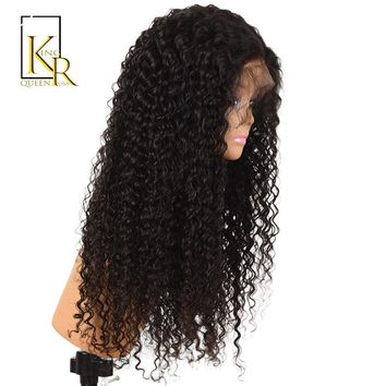 Cool Curly Lace Front Human Hair Wigs For Women Remy Brazilian Lace Wig 150% Density Pre Plucked With Baby Hair King Rosa QueenAT_93_12