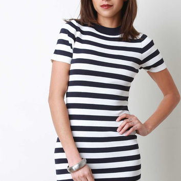 Striped Mock Neck Short Sleeve Bodycon Mini Dress