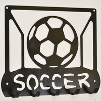 Soccer Wall Hooks, Soccer Ball and Net Key Rack, Soccer Key Rack