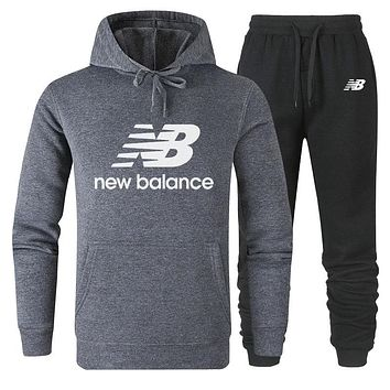 New Balance new simple and versatile cotton sports two-piece suit Grey