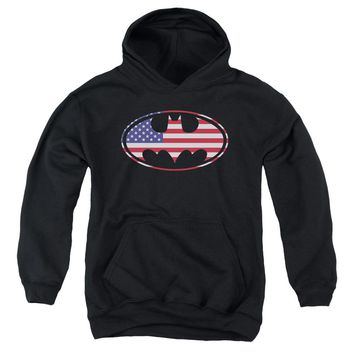 Batman - American Flag Oval Youth Pull Over Hoodie