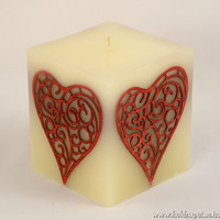 I Love You Gift red heart candle housewarming feng shui decor with wooden marquetry