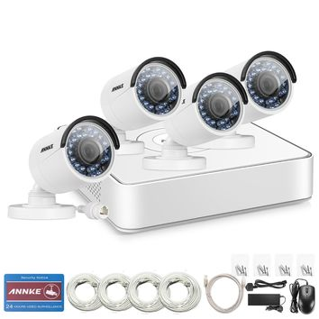 960P 4 Channel sPOE  Indoor Outdoor Night Vision Security Cameras System