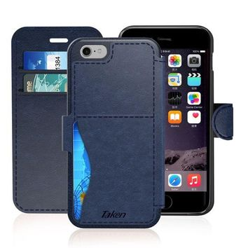 ONETOW TAKEN Vintage PU Wallet iPhone 6 Case, Shockproof Leather Cases, Durable Flip Cover with Credit Card Slot for Apple iPhone 6s (2017) 4.7 Inch, Gift for Business Lady, Men, Women, Boys, Girls - Blue