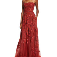 Elie Saab Embroidered Strapless Silk-Blend Gown, Cadillac