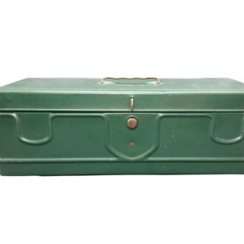 Vintage Teal Green Metal Tackle Box, Industrial Metal Container, Storage Supply Box, Divided Tray, Old Metal Toolbox, Farmhouse, Compartment