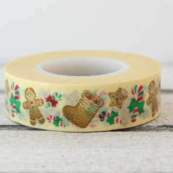 Gingerbread Man Washi Tape, Christmas Washi Tape, Printed Paper Tape, Pretty Tape, Holiday Washi Tape, Gift Wrap Tape