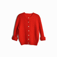 Vintage Tomato Red Cable Knit Cardigan Sweater - women's medium/large