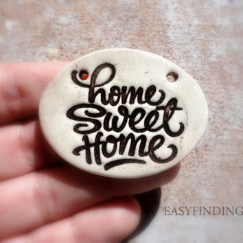 Home Sweet Home Pottery Pendant, Earthy Jewelry Making Supply, Handmade Ceramic Jewelry, one of a kind whimsical