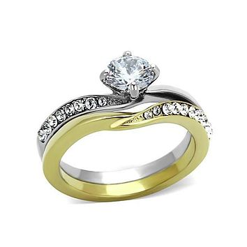 Heart of Gold - .84 CT. Equivalent Cubic Zirconia Center Stone Two Tone Engagement/Wedding Set