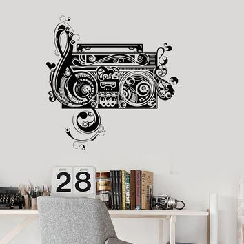 Wall Decal Tape Recorder Music Patterns Beautiful Room Art Vinyl Mural Unique Gift (ig2909)