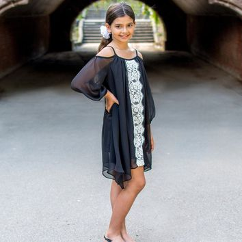 Elegant 2018 Off The Shoulder Black With Lace Down Middle Pre Teen Dress