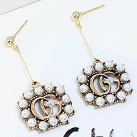 GUCCI New fashion letter pearl long earring women