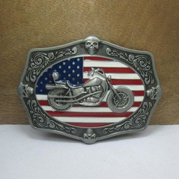 Fashionable American Flag Skull Motorcycle Shape Embellished Metal Belt Buckle For Men