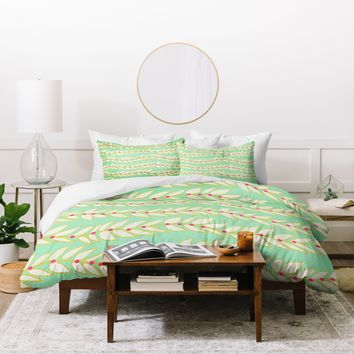 Jacqueline Maldonado Leaf Dot Stripe Mint Duvet Cover