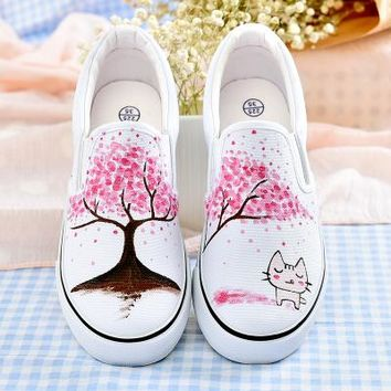 Women Shoes Hand-Painted Board Shoes Princess Fairy Tale Girl Shoe White Canvas Shoes Autumn