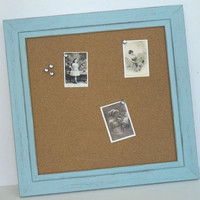 Distressed Chalky Painted Framed Cork Board