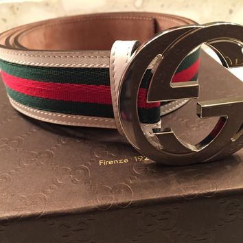 NEW GUCCI Mens GRG WEB Belt* w/White Leather Trim Silver Buckle AUTHENTIC 114984