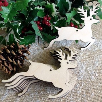 10 Pcs Christmas Tree Wood Pendant Festival Ornaments Xmas Trees Deers Pattern Hanging Embellishments With String #BF