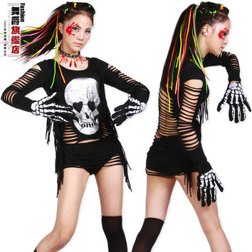New Fashion hip hop top dance female Jazz costume performance wear stage clothing Halloween skull tassel Sexy t-shirt