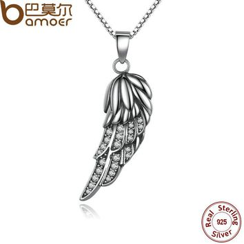 Popular 925 Sterling Silver Wing Pendant Necklace Feather Necklace for Women Fine Jewelry SCN027