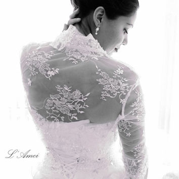 Ivory  3/4 sleeve bridal alencon lace wedding bolero jacket with  High collar