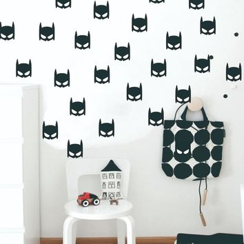 Batman Dark Knight gift Christmas 24pcs Batman Mask Superhero Logo Wall Sticker Nursery Art Poster DIY Vinyl Decals for Kids Bedroom Decoration House Decor AT_71_6