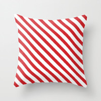 Velveteen Pillow - Candy Cane Pillow - Christmas Decor - Christmas Pillow - Red Ikat Stripes - Candy Cane - Christmas Gift - Gift Idea