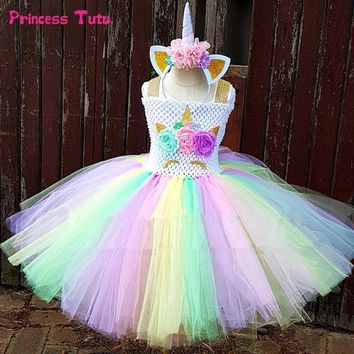 Rainbow Unicorn Tutu Dress Girl Kids Halloween Birthday Party Dress Children Princess Tulle Dress Little Horse Cosplay Costume