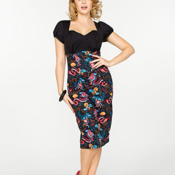 Pinup Couture Mary Ann Dress in Dragon Print