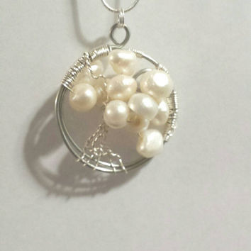 Cultured Pearls Tree of Life Necklace / Family Tree Jewelry Pendant