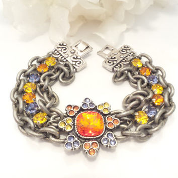 SWAROVSKI CRYSTAL BRACELET, one of a kind, flower, chunky, designer original, stunning, fire opal